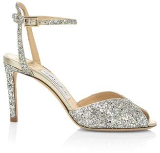 Jimmy Choo Sacora Course Glitter Peep-Toe Sandals