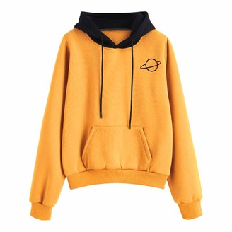 DESIBA Women's Long Sleeve Hoodie Pullover Sweatshirt Patchwork Jumper Round Neck Side Pullover Sweatshirt(Yellow 2XL)