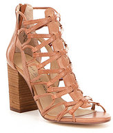 Chinese Laundry Tegan Leather Caged Back Zip Stacked Block Heel Sandals
