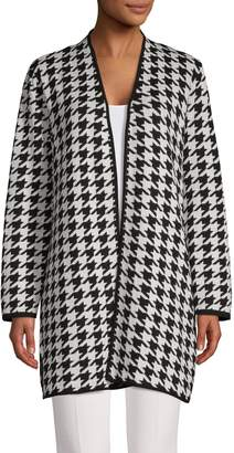 Kasper Suits Houndstooth Cotton-Blend Cardigan