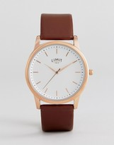 Limit Brown Faux Leather Watch With Wave Dial Exclusive To Asos