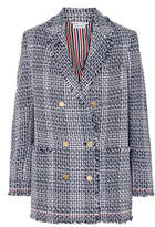 Thom Browne Double-breasted Frayed Cotton-blend Tweed Blazer - Navy