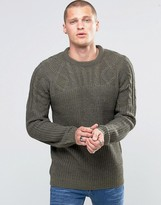 Blend of America Crew Slim Heavy Knit Sweater Cable Top Ivy Green