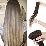 "IMSTYLE PU Tape hair extensions Remy Human Hair Skin Weft Dark Root Ombre Seamless Hair Extension 20 pcs/set (18"", T3#24#3)"