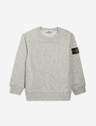 Stone Island Compass logo-patch cotton-jersey sweatshirt 4-14 years