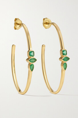 Sorellina Stx & Stone 18-karat Gold Emerald Hoop Earrings - one size