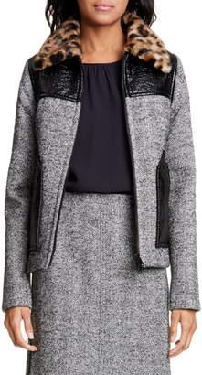 N°21 N21 N?21 Faux Fur Collar Paneled Wool Blend Jacket