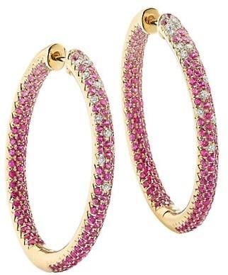 Robinson Pelham Disco 14K Yellow Gold, Pink Sapphire & Diamond Hoop Earrings