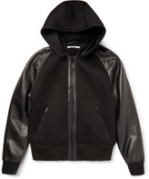 Givenchy - Slim-fit Leather And Neoprene Hooded Jacket