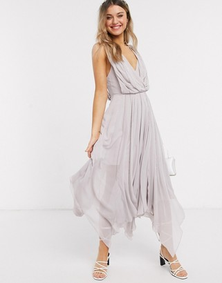 ASOS DESIGN drape bodice midaxi dress embellished