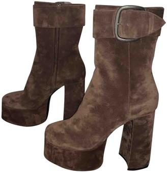 Saint Laurent Joplin Brown Suede Ankle boots