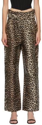 Ganni Black and Brown Crispy Jacquard Trousers