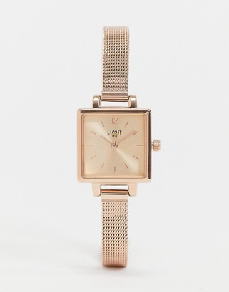 Limit square dial mesh watch in rose gold