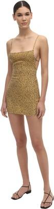 Anémone The Km Tie Leopard Print Cupro Mini Dres