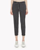 Theory Wool Geo Plaid Slim Crop Pant