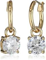 "Anne Klein Gold Update"" Gold-Tone and Crystal Hoop Drop Earrings"