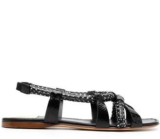 Francesco Russo Open Toe Flat Sandals