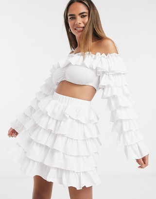 Moda Minx ruffle crop top and skirt co ord in white