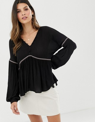 Y.A.S festival v neck emroidered smock top
