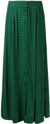 Ganni Gingham-Check Crepe Skirt