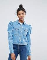 Chorus Cropped Boxy Mutton Sleeve Denim Jacket