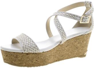 Jimmy Choo Two Tone Woven Fabric Portia Cork Wedge Cross Strap Sandals Size 39