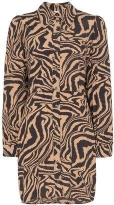 Ganni Zebra-Print Mini Shirt Dress