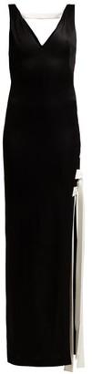 Galvan High-shine Laced Dress - Womens - Black White