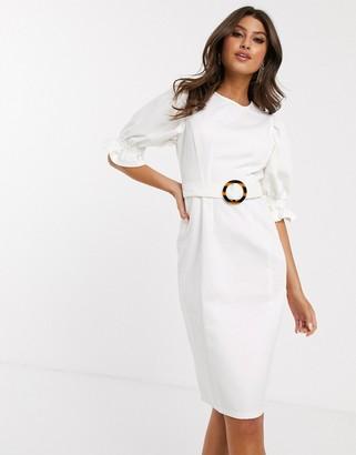 Asos Design DESIGN denim midi dress with puff sleeve in white