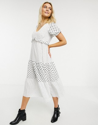 Miss Selfridge mixed polka dot fill midi dress in white