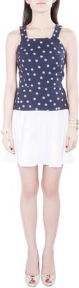 Thakoon Navy Blue and White Polka Dot Cotton Sleeveless Flared Dress XS
