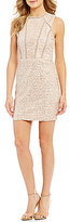 Jodi Kristopher Sequin Lace Ladder-Trim Sheath Dress