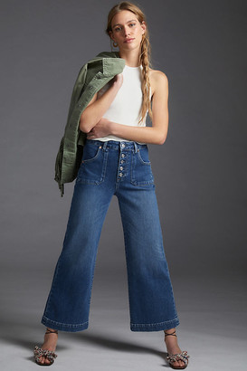 Paige Anessa High-Rise Cropped Wide-Leg Jeans By in Blue Size 25