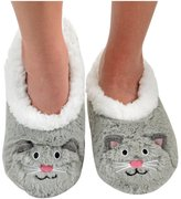 Snoozies Womens Animal Heads Sherpa Plush Fleece Lined Slipper Socks - Brown , Extra-Large