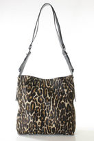 Lanvin Cheetah Print Pony Hair Leather Silver Tone Satchel Handbag EVHB