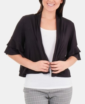 NY Collection Double-Ruffle Sleeve Shrug