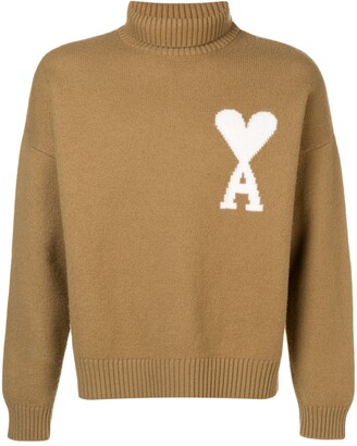 AMI Paris Ami De Coeur Intarsia Oversize Funnel Neck Felted Sweater