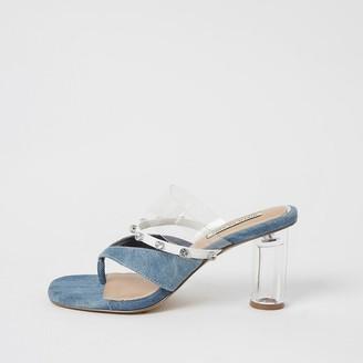 River Island Blue denim toe thong diamante mule sandals