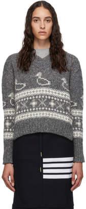 Thom Browne Grey Duck Fair Isle Jacquard Sweater