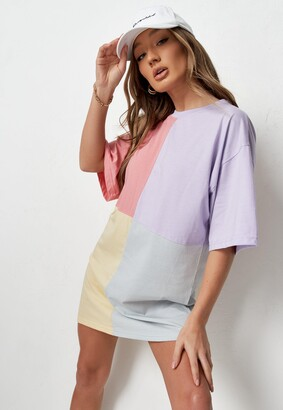 Missguided Lilac Oversized Colourblock T Shirt Dress