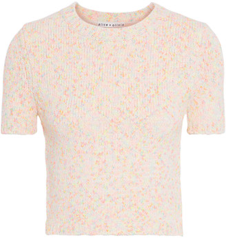 Alice + Olivia Ciara Cropped Marled Cotton-blend Top