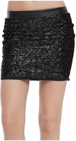 Lotsyle Women's Sequins Club Party Bodycon Mini Skirt Splicing Faux Leather -M