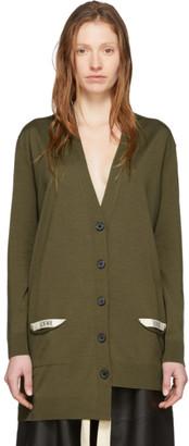 Loewe Khaki Wool Asymmetric Cardigan