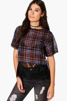 Boohoo Enya Check Woven Lace Hem Shell Top