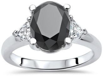 Front Jewelers 2 1/10 ct Tdw Oval Cut Black Diamond 3 Stone Trillion Diamond Engagement Ring 14k White Gold