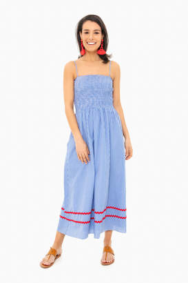 Sail to Sable Blue Gingham Spaghetti Strap Midi Dress