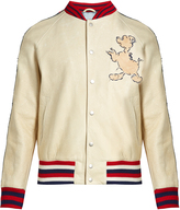 Gucci Donald Duck©-embroidered leather bomber jacket