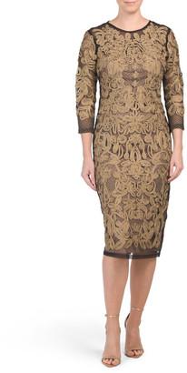 Three-quarter Sleeve Metallic Dress