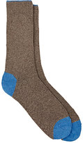 Barneys New York Men's Tipped-Cuff Stockinette-Stitched Mid-Calf Socks-TAN, LIGHT BLUE