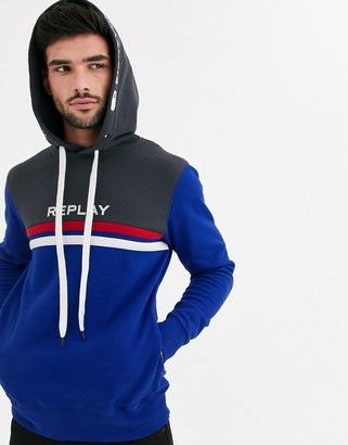 Replay two tone hoodie with sporty stripes-Blue